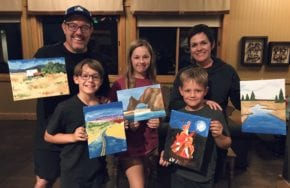Photo of Family after a Rush Creek Paint Party
