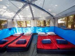 Evergreen Lodge Custom Camping Family Tent Interior (Kim Carroll)